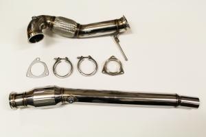 Hosenrohr Downpipe für Audi S3 8L 209PS TT 225PS ø 76mm Edelstahl mit 200 Zellen Sportkat (ø 120mm)