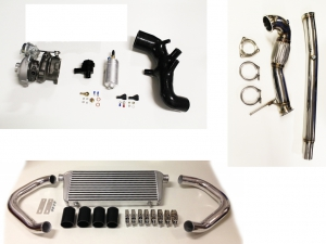upgrade Turbo Kit für Audi S3 8L TT 8N bis 320PS  plug&play mit K04-023 upgrade + Ansaugschlauch + BP + Downpipe + LLK + BOV blau
