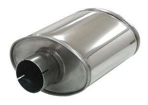 Schalldämpfer universell Simons ø 76mm 3 oval 140x220mm L 250mm Edelstahl