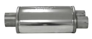 Schalldämpfer universell Simons Splitt ø 76mm oval 220x140 L 320mm Edelstahl 1x 76mm 2x 63,5mm