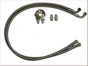 Ölkühler kit mit D08 Anschlüssen gerade + 90° Ölleitungen ca. 1,3 Meter/Leitung Ölfilteradapter