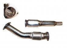 Hosenrohr Downpipe für Golf 4, Audi A3, Seat Leon 1.8T ø 76mm mit 100 Zellen Rennkat, Flexrohr Interlock - Edelstahl