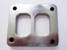 Flansch T4 82,5x70mm 10mm stark doppelflutig aus Edelstahl für Krümmerbau
