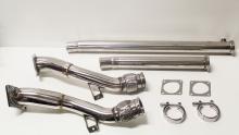 Hosenrohr Downpipe 2.7L Bi-turbo für Audi S4 RS4 76mm > 63,5mm Edelstahl mit Flexrohr