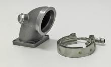 Kniestück / Downpipe gegossen für Fiat Coupe 2.0L 16v Turbo, Lancia Delta Integrale 2.0L 16v o. 8v Turbo vom Turbolader V-Band 63,5mm auf 4-Loch