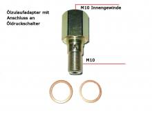 Adapter am Öldruckgeber M10x1 innen auf M10x1 außen mit Bohrung für Ölzulauf